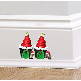 Full Colour Christmas Cupcakes Mouse Wall Sticker
