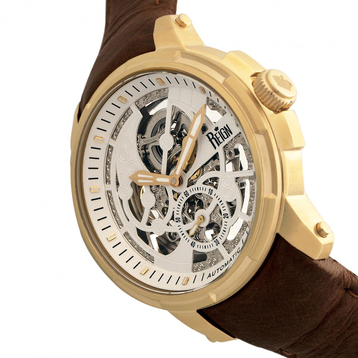 Reign Matheson Automatic Skeleton Dial Leather-Band Watch - Brown/Gold
