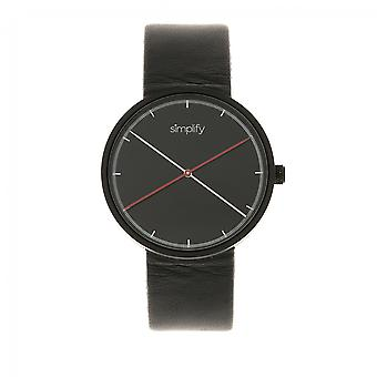 Simplify The 4100 Leather-Band Watch - Black