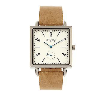 Simplify The 5000 Leather-Band Watch - Khaki/White