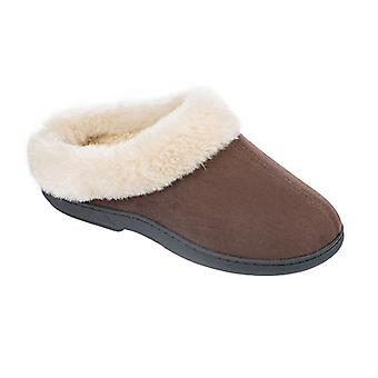 Coolers Womens Microsuede Faux Fur Slip-On Mule Slippers