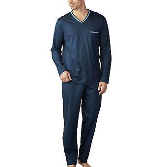Mey Herren 18881-668 Herren Uni Basic Yacht blaue Pyjama Set