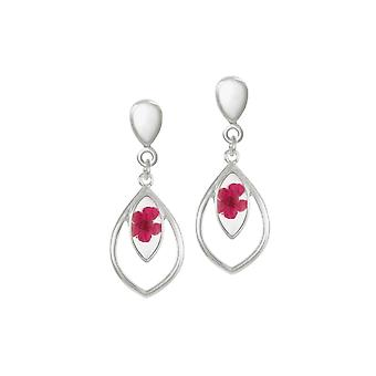 Eternal Collection Charming Red Floral Silver Tone Drop Clip On Earrings