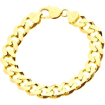 スターリング 925 シルバー縁石チェーン ブレスレット - 縁石 11 mm ゴールド