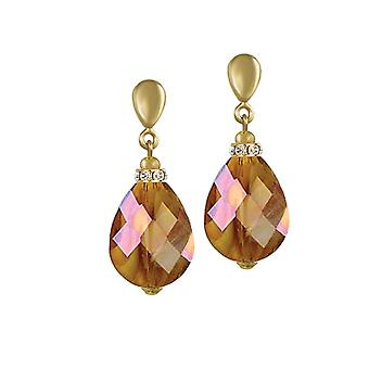 Eternal Collection Infinity Amber AB Marbled Glass Gold Tone Drop Pierced Earrings