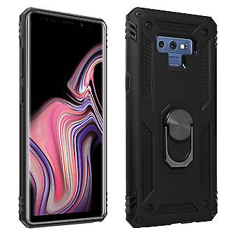 Samsung Galaxy Note 9 Case Bi Material Rigid Soft Magnetic Ring Stand Black