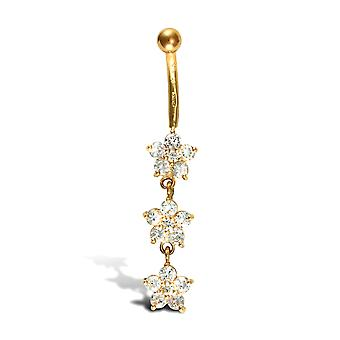 Jewelco London Ladies 9ct Yellow Gold White Round Brilliant Cubic Zirconia Flower Trilogy Dropper Banana Belly Bar, 10mm