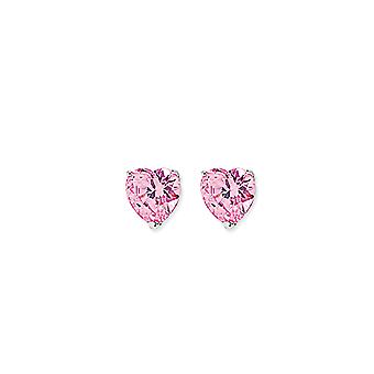 Jewelco London Rhodium Plated Sterling Silver Pink Heart Cubic Zirconia Love Heart Solitaire Stud Earrings 7mm