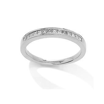 Κοσμήματα του Λονδίνου 18ct λευκό χρυσό διαμάντι 0.25 αξονική πριγκίπισσα cut αιωνιότητα γαμήλιο δαχτυλίδι-2.9 mm