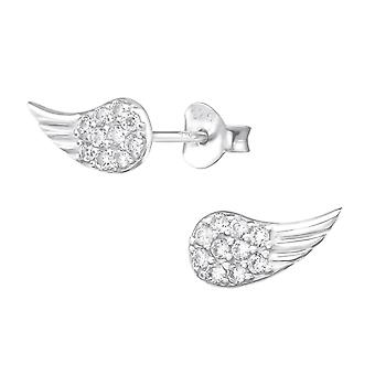 Wing - 925 Sterling Silver Cubic Zirconia Ear Studs - W30258X