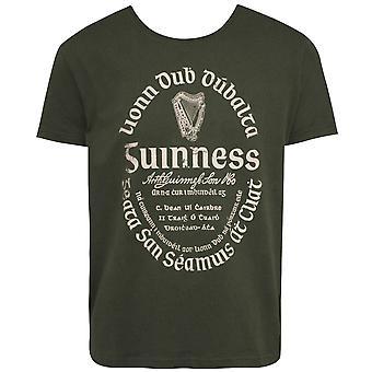 Guinness Khaki Green Gaelic Label Tee Shirt
