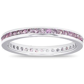 5/8ct Pink Sapphire stabelbar bryllupsdag ring 14K hvid guld