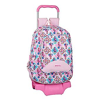 Moos Flamingo Pink - Official Backpack for Boys - Model 572 with Safta 905 Cart - 330 x 460 x 175 mm