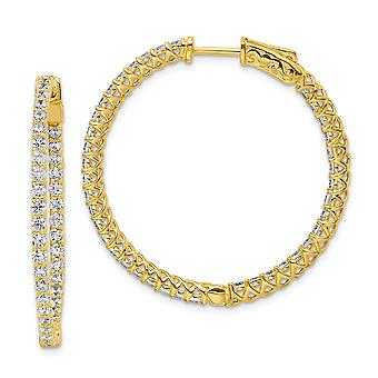 925 Sterling Silver Polished Prong set 14k Gold Plated With CZ Cubic Zirconia Simulated Diamond Hinged Hoop Earrings Jew