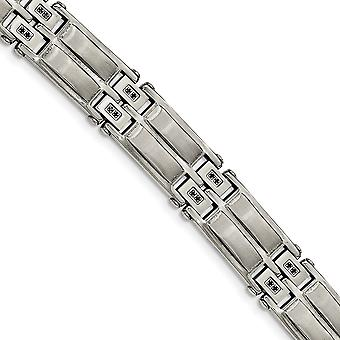 Stainless Steel Satin and Polished With Black CZ Cubic Zirconia Simulated Diamond Link Bracelet 8.5 Inch Jewelry Gifts f