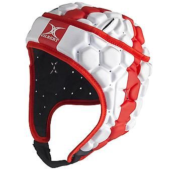 Gilbert Falcon 200 England Kids Rugby Headguard Scrum Cap White/Red
