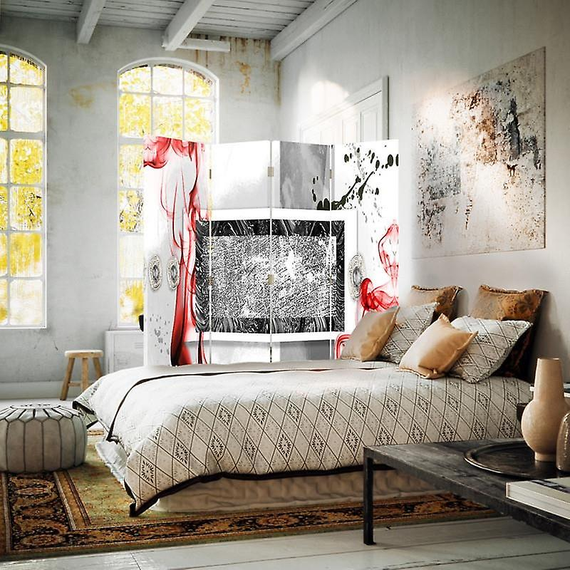 Diviseur de chambre, 4 panneaux, toile, composition abstraite 2