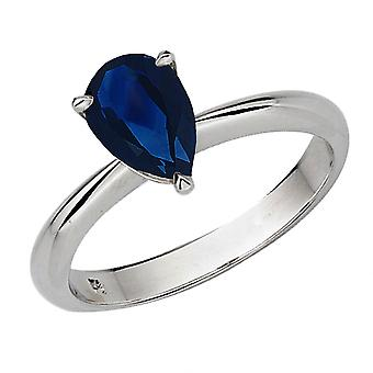 Dazzlingrock Collection 18K 8X6mm Pear Cut Blue Sapphire Solitaire Bridal Engagement Ring, White Gold