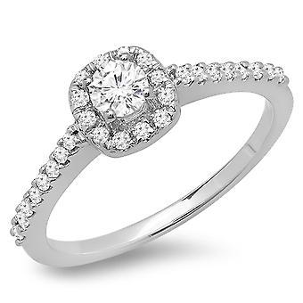 Dazzlingrock Collection 0.50 Carat (ctw) 14K Round Diamond Ladies Halo Bridal Engagement Ring 1/2 CT, White Gold