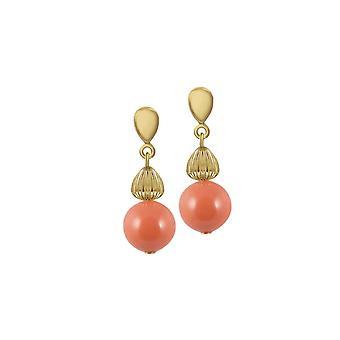 Eeuwige collectie Solitaire koraal Pearl Gold Tone drop schroef terug clip op oorbellen