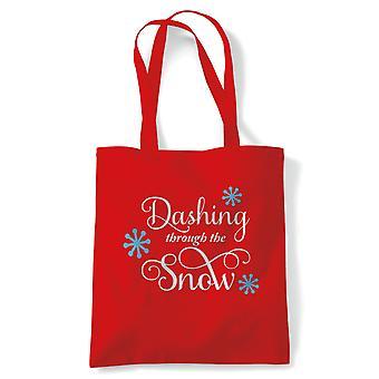 Dashing Through The Snow Tote | Christmas Xmas HoHoHo Season Greetings Merry | Reusable Shopping Cotton Canvas Long Handled Natural Shopper Eco-Friendly Fashion