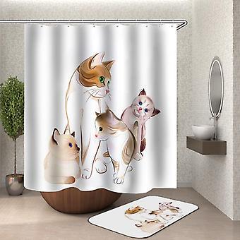 愛らしい猫絵画シャワーカーテン