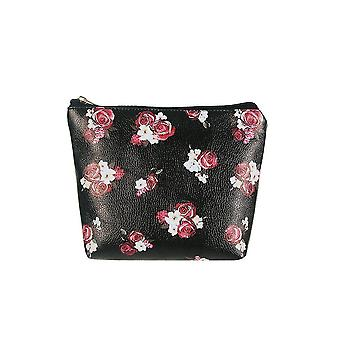 Jewelcity kvinner/damer mørk floral stor makeup bag