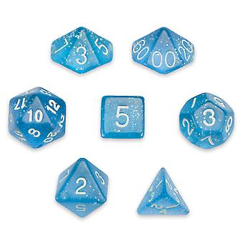 7 Die Polyhedral Set in Velvet Pouch, Diamond Dust