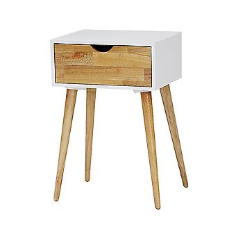 "16"" X 12"" X 24"" White MDF  Wood End Table with  Drawer"