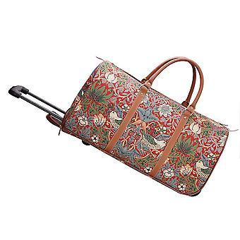 William morris - strawberry thief red travel holdall by signare tapestry / pull-strd