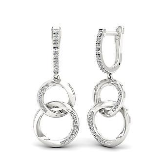 Boucles d'oreilles de cerceau d'argent sterling certifiés Igi 0.2ct tw