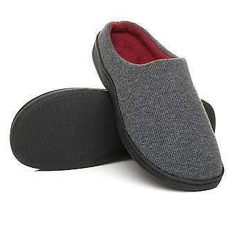 Ajvani mens flat winter fur lined slip on memory foam gift mules slippers shoes