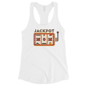 Jackpot Mom Tank Top Womens White Sleeveless Top For Workout Gift