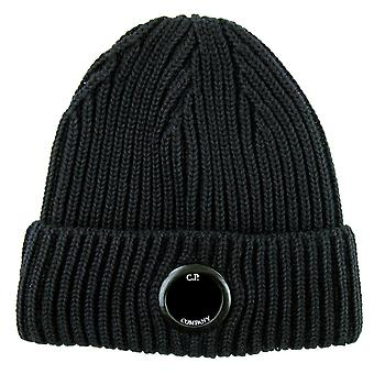CP Company Extra Feine Merino Wolle Objektiv Winter Mütze Schwarz 999