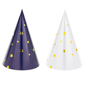 6 Mini Star Print Card Party Hats para fiestas espaciales