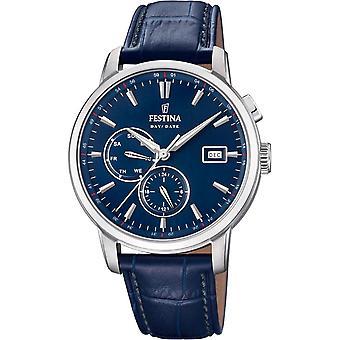 Zeitlose F20280-3 Chrono Festina Watch - Uhr Quarz Leder Blue Man