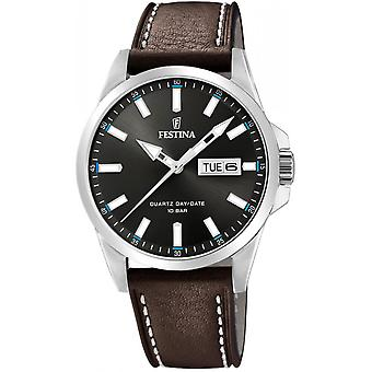 Armbanduhr Festina Uhren klassische F20358-1 - Dater braun Leder Mann