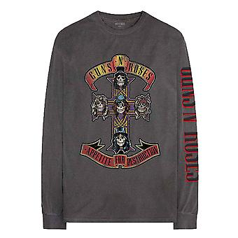 Guns N Roses T Shirt Appetite Tour Official Charcoal Grey Long Sleeve Unisex