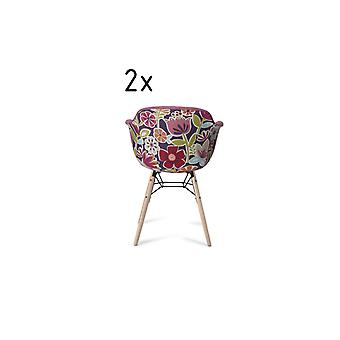 Furnhouse Flame Dining Chair, Pink/Violet, Natural Legs, 59x57x80 cm, Set of 2