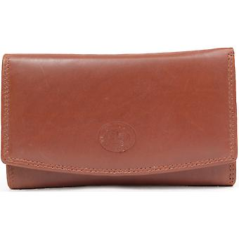 Ladies / Womens Leather Tri-Fold Purse with Multiple Pockets and Credit Card Slots - Black