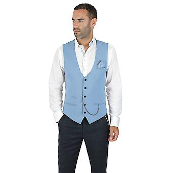 Marc Darcy Kelly Single Breasted Sky Blue Plain Waistcoat