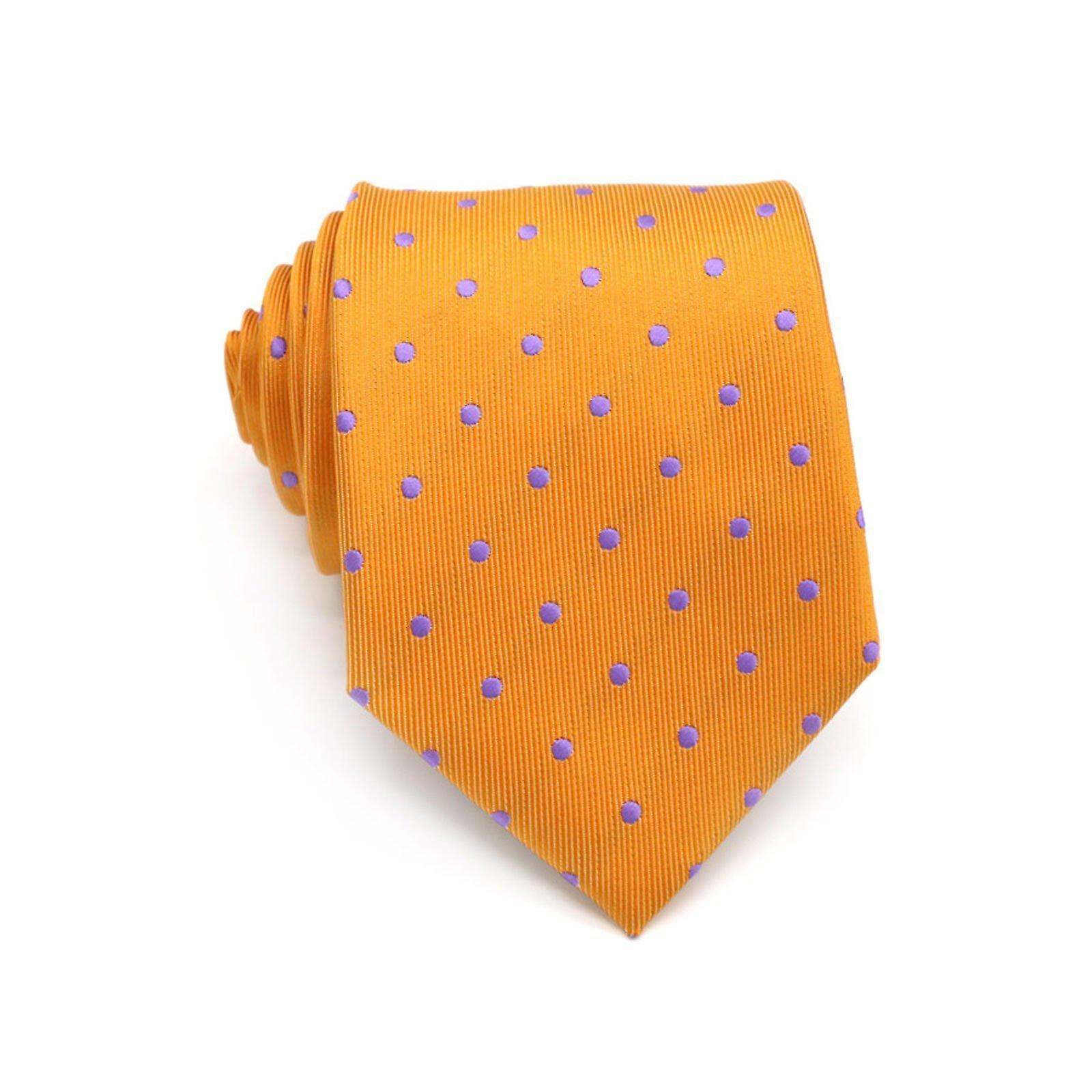 Orange & purple polka dot necktie standard width tie