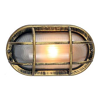 Black/Gold Cast Aluminium Outdoor Oval Bulkhead Wall Light