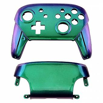 Replacement housing shell for nintendo switch pro controllers front & back cover hard glossy - chameleon blue green purple | zedlabz