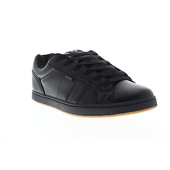 Osiris Loot  Mens Black Leather Lace Up Athletic Skate Shoes
