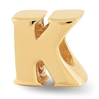 925 Sterling Silver Polished 14k Gold Plated Reflections Letter Name Personalized Monogram Initial K Bead Charm Pendant
