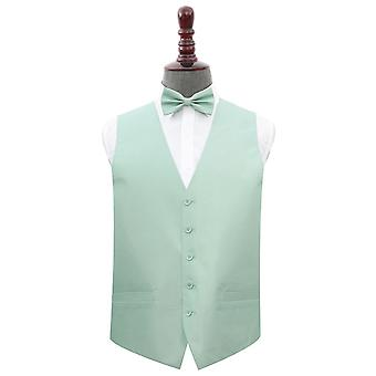 Dusty Green Plain Shantung Gilet de mariage & Ensemble de nœuds papillon