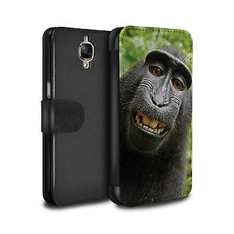 STUFF4 PU Leather Wallet Flip Case/Cover for OnePlus 3/3T/Selfie Baboon/Funny Animal Meme