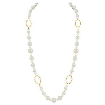 Eternal Collection voittoisa valkoinen kuori helmi ja kristalli kulta sävy pitkä helmi ilmoitus kaulakoru