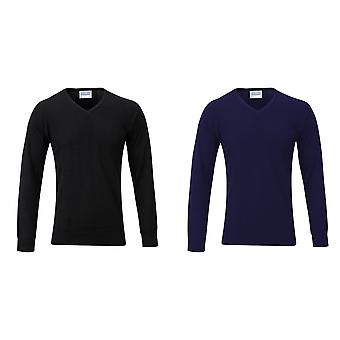 Maddins Mens 14 Gauge V Neck Fully Fashioned Jumper / Sweatshirt
